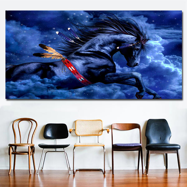 Fantasy Digital Art Blue Indian Horse Animal Pictures Wall Art Prints on canvas No frame Home Decor For Living Room