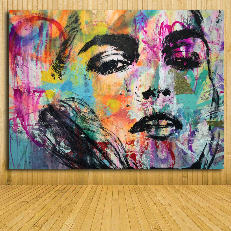 Fashion Colorful Woman Canvas Poster Home Decor Abstract Wall Art Sexy Discount Canvas Print