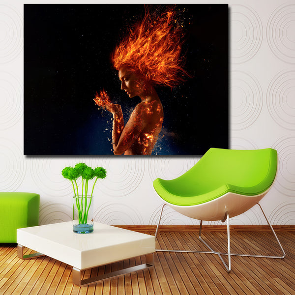 Fashion Fire X-Men Dark Phoenix 2018 Sophie turner Girl fire Poster Wall Art Canvas Painting Picture for Home Decoration
