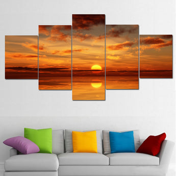 Fashion wall art Sea full sunrise decoration abstract large canvas painting 5 parts / set no frame Can be customized