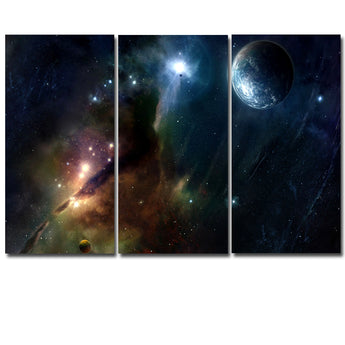 Frameless 3 Panels Printed Painting On The Wall Modular Pictures Canvas Art Prints Starry Sky Painting For Home Canvas Artwork