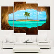Frameless Blue Sea and Coconut Tree Painting Canvas Printed On Canvas For Wall Art Picture For living room
