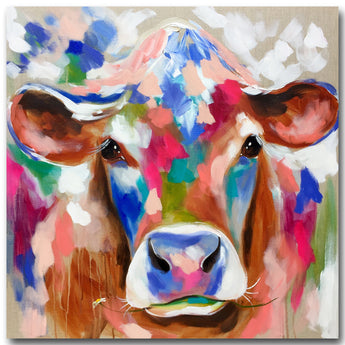 Free shipping Large size Printing Oil Painting Wall painting Cow in the field Wall Art Picture For Living Room painting no frame