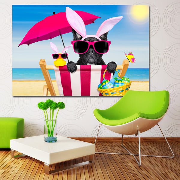 Funy Easter Dogs French Bulldog Eggs Umbrella Painting Canvas Wall Pictures for Living Room Modern Canvas animal Oil Painting