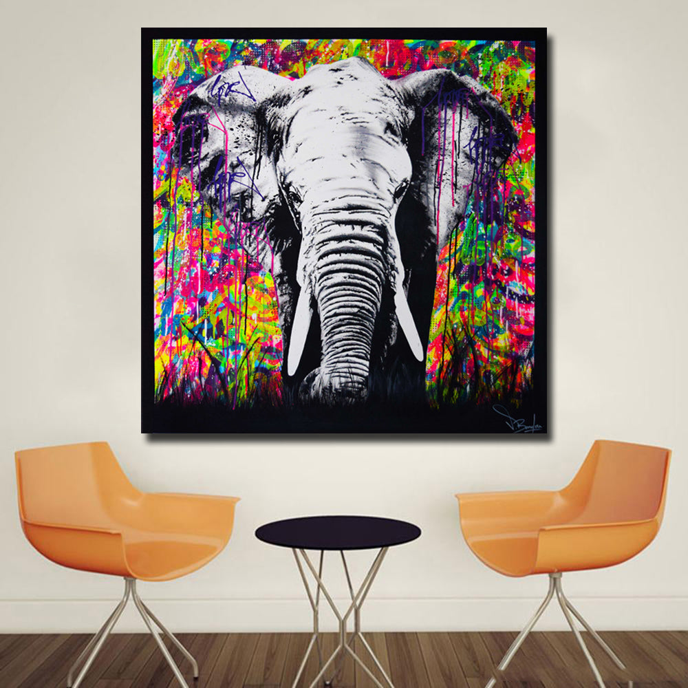 Graffiti Street Art Elephant Painting Poster Print Wall Art Cuadro For Living Room Animal Painting Home Decor Canvas Painting