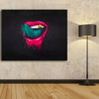 Green lips decoration picture on wall acrylic painting abstract art prints drawing oil paintings home decor unframed