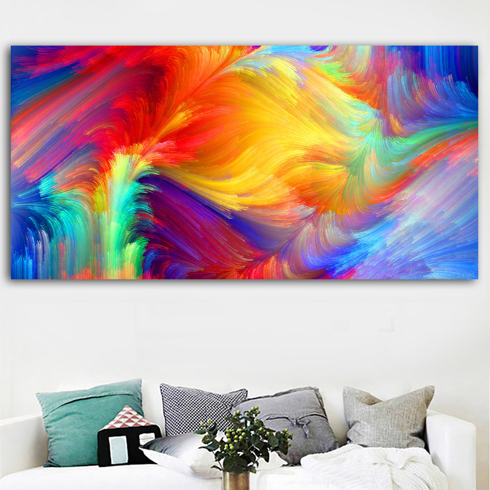Hd abstract art colorful feather wall pictures for living room print p discount canvas print