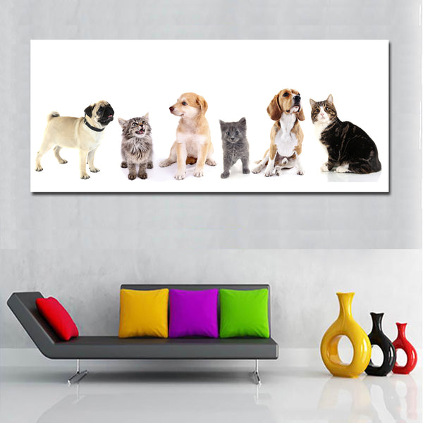 HD Dogs And Cats Animal Painting Huge Canvas Painting Wall Art Print Poster Modern Wall Decor For Living Room Home Decoration