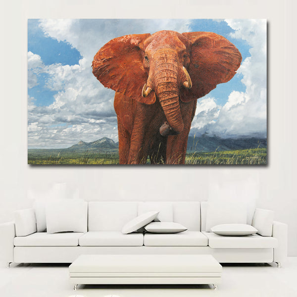 HD Large Size Blue sky white clouds background Animal Elephant Oil Painting Wall art Painting Home Decorative Prints Picture