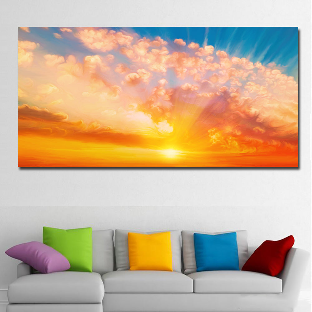 HD Print Colorful Clouds Sunrise Landscape Canvas Painting Wall Art Prints  For Living Room Home Decor Animal Art Prints Poster
