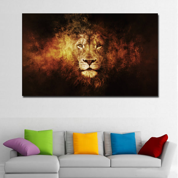 HD Prints Abstract Animal Lion Oil Painting Printed on Canvas Modern Wall Art Picture for Living Room Poster Cudros Decor