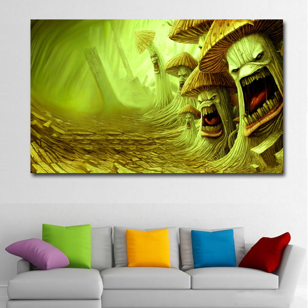 HD Prints Abstract Cartoon Painting Angry Mushrooms Picture Canvas Printed Wall Art Print Posters For Living Room Home Decor