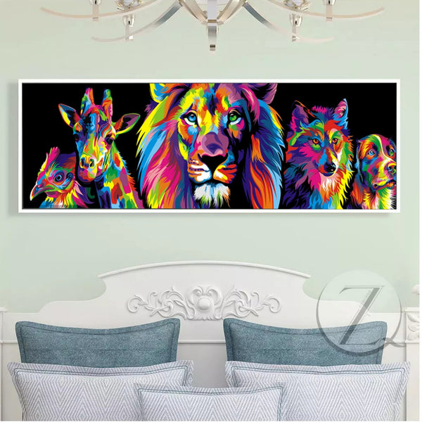 HD Prints Colorful Animal Lion Wolf Dog Giraffes Canvas Painting Wall Art Prints For Living Room Home Decor Posters And Prints