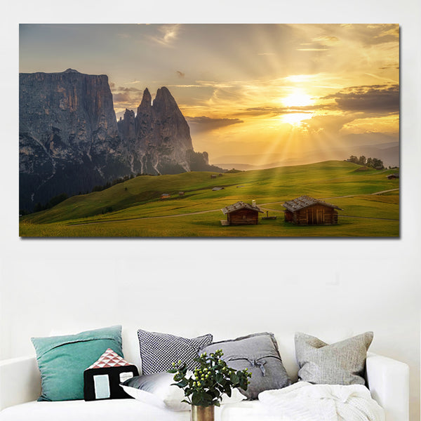 HD Prints Italy Grasslands Houses Mountain Landscape Art Painting Canvas Printed Wall Art Prints Poster for Living Room Decor
