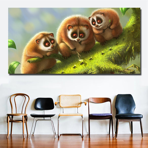 HD Prints Simple Cute Animal Three Lemurs Playing Ants Painting Canvas Painting Wall Art Print Poster For Living Room Decoration