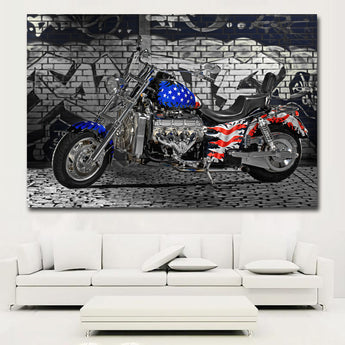 HD Prints Vintage Motorcycle USA Flag Painting On Canvas Prints Home Decoration Wall Art Paintings For Living Room,Bedroom