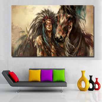 HD printed Canvas Art American Indian Girl Painting Horse Wall Pictures for Living Room Decor Free shipping