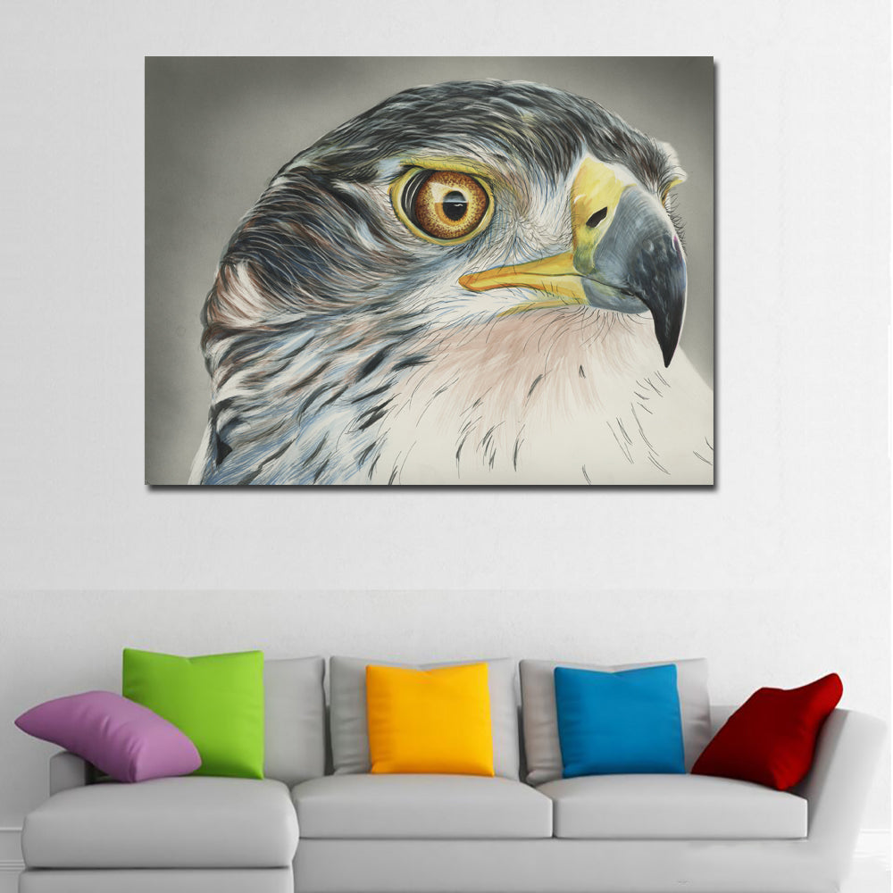 Hawk head painting poster modern animal wall art print picture canvas discount canvas print