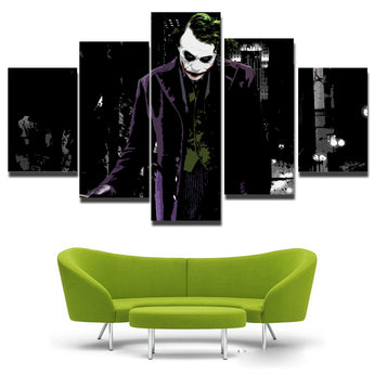 High quality Printed picture Joker painting printed on canvas 5 panels / set for wall decoration Canvas art print posters