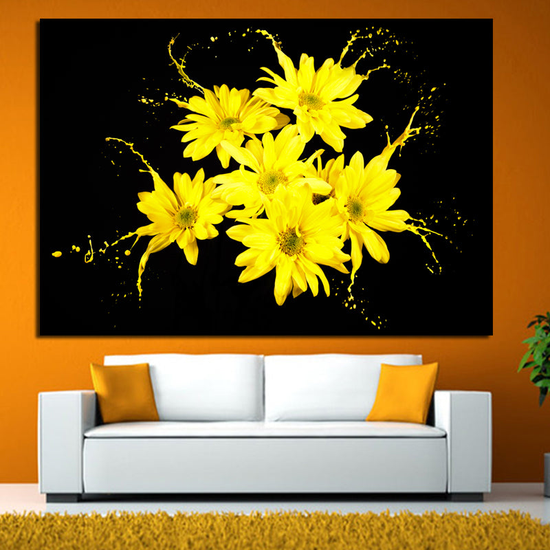 Home Decor Print Canvas painting modern yellow black Flower Oil ...