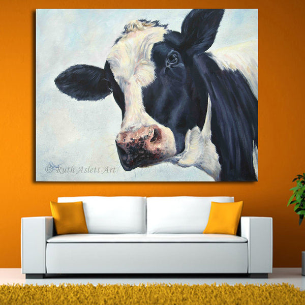 Home Decor Wall Art cow painting cow molly moo low Oil Painting for Living Room Modern Animal Pictures Canvas Wall Art Unframed