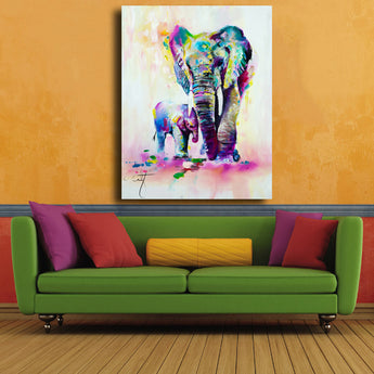Hotsell Animal Canvas Painting HD Elephant Mother And Son Printed On Canvas Wall Art For Living Room Home Decor Unframed