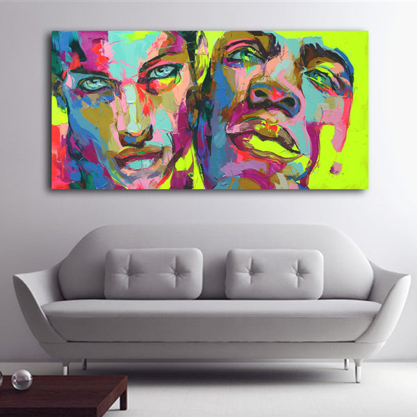 Knife painting portrait two man Face Oil painting Impasto figure print on canvas Francoise Nielly Art Prints Big Wall Pictures