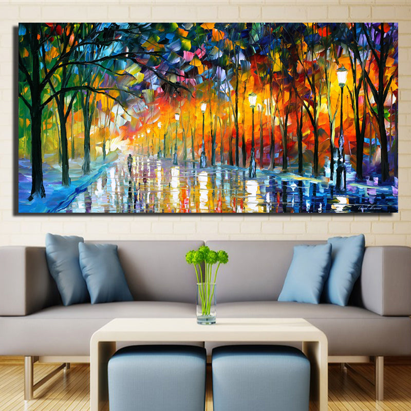 large printed landscape painting walling in rain light road palette
