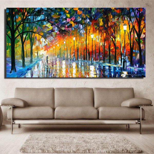 Large Printed Landscape Painting Walling In Rain Light Road Palette Knife Oil Painting Wall Art Print Decor Home Decoration