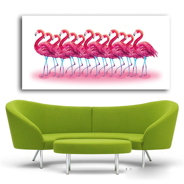 Large Size Canvas Art Flamingo Wall Painting Abstract Animal Painting Print On Canvas for Living Room Home Office Decor No Frame