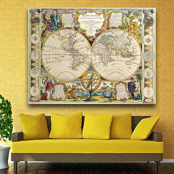 Large Vintage World Map Office Supplies Detailed Antique Poster Wall Chart Map Of World printed on canvas painting