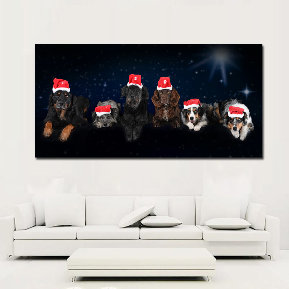 Christmas Paintings For Kids On Canvas.Large Size Christmas Dogs Night Winter Hat Glance Spaniel Canvas Painting Animals Posters And Prints Wall Pictures Kids Room