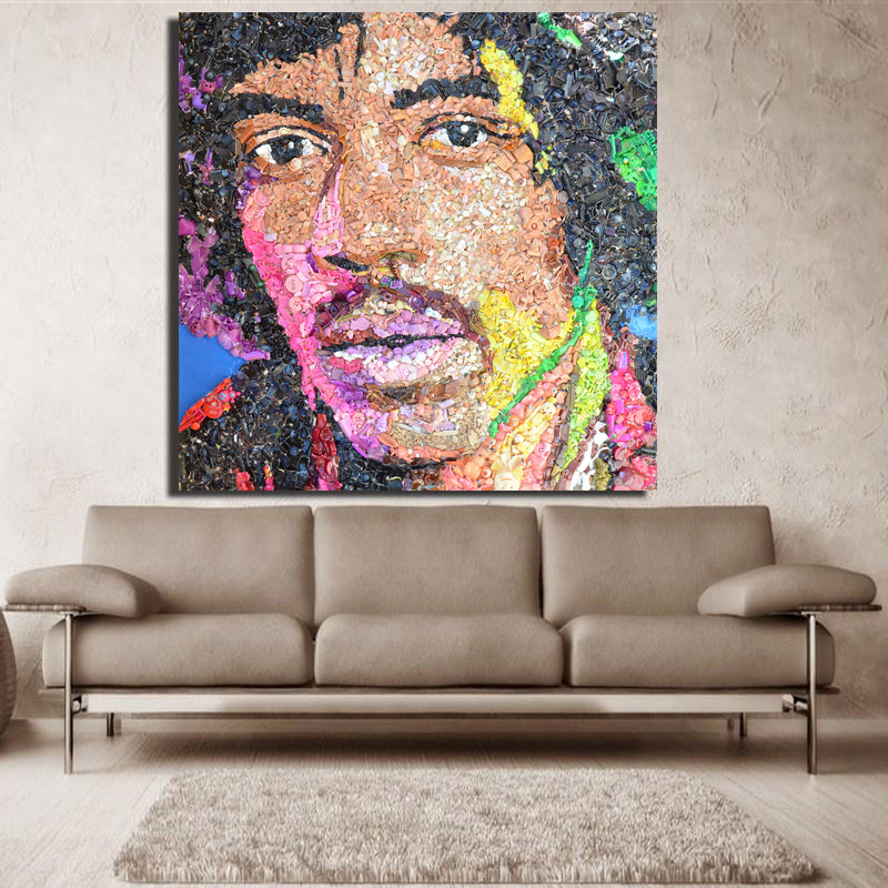 Large size Print Oil Painting Wall painting Jimi Hendrix objects and resin  on the table Decorative canvas oil painting No Frame