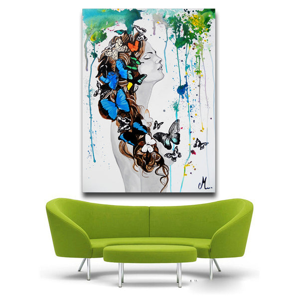 Magic Girl Decorative Pictures Abstract butterfly Women Wall Art Painting Unframed Cuadros Decoracion Infantiles Christmas Gift