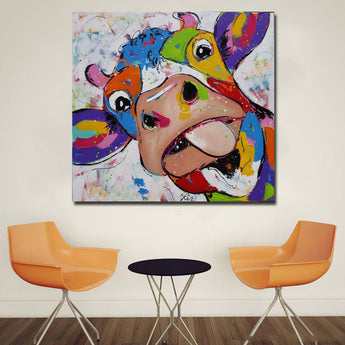 Modern Abstract Canvas Wall Art Picture Colorful Cow Animal Canvas Prints Wall Paintings For Living Room Decoration Unframed