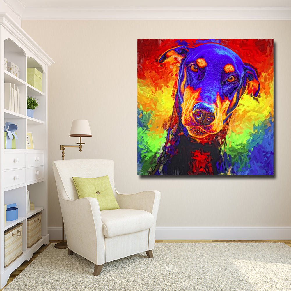 Modern Colorful Animal Art Dog Painting Poster Print Wall Art Cuadro For Festival Living Room Home Decor Canvas Painting