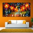 Modern Landscape Painting Wall Art Lovers Walks In the Night ,Light Street Canvas Printed Painting Home Decor Unframed