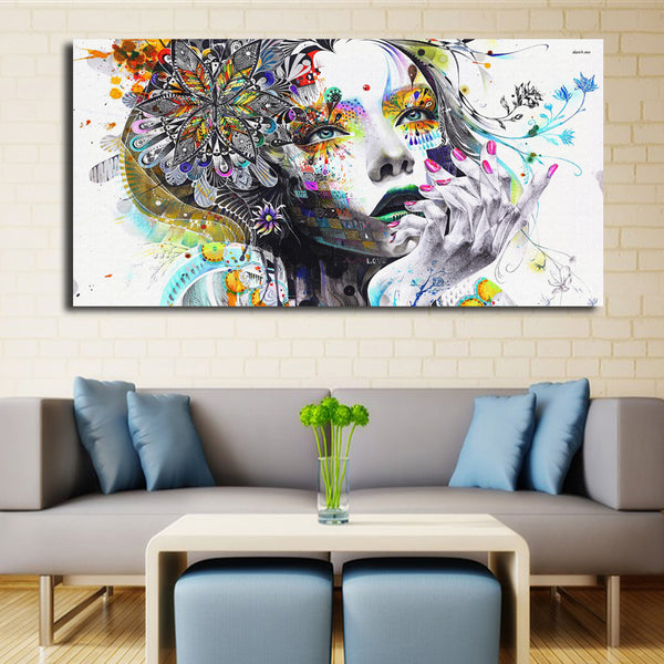Modern Psychedelic Girl Art Wall Poster Abstract Modular Painting Watercolor Canvas Painting Printed On Canvas Wall Decor