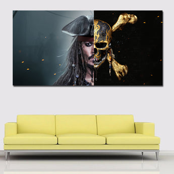 Movie Prints Canvas Art Pirates of the Caribbean With Golden Skeleton Printed On Canvas Wall Print And Poster Home Decor