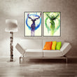 Nordic Style Cartoon Deer Canvas Art Print Painting Poster, Animal Wall Pictures for Home Decoration, Wall Decor