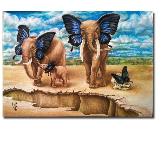 Room Canvas Print Modern printed Painting No Frame  elephant and son with butterfly wings Painting Canvas Wall Art Picture