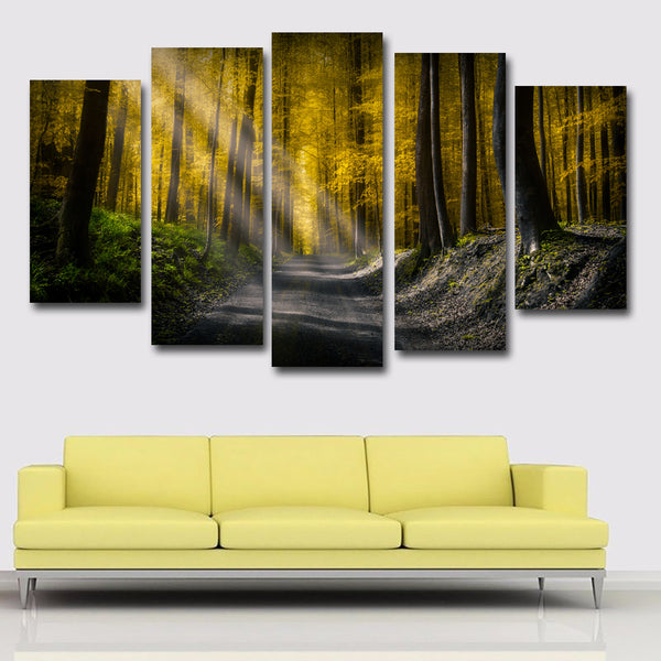 5 Panels/Set Forests Roads Rays Of Sun Picture Art Canvas Painting Posters Print On Canvas Wall Picture Home decor