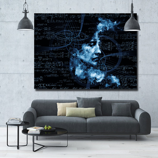 Abstract Painting Blue Women Math Portrait Oil Painting Wall Pictures For Living Room Home Decor Canvas Art No Frame