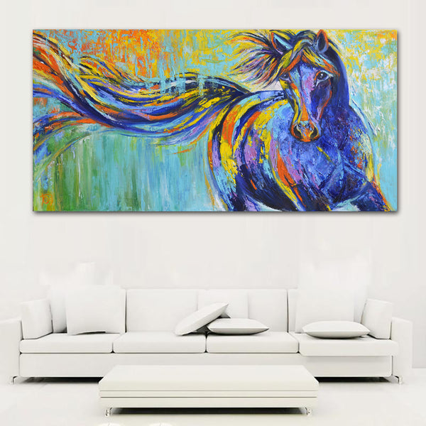 Animal Wall Art Pictures For Living Room Home Decor Canvas Painting blue Running Horse No Frame