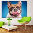 Dogs Colored background Bulldog Snout Tongue print painting Canvas Wall Pictures for Living Room Canvas Oil Painting