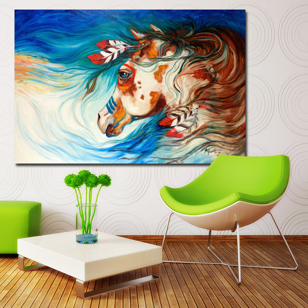 Indian War Horse Feather Wall Art Canvas Printing Decoration For Living Room Wall Art Spray Wall Painting Home