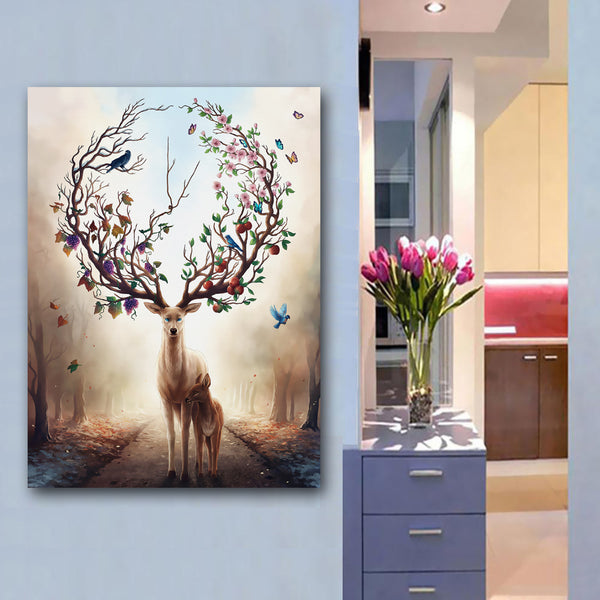 Nordic Elk Deer Series Living Room Decor Art Print Posters Animal Family Canvas Painting Wall Pictures Home Decor