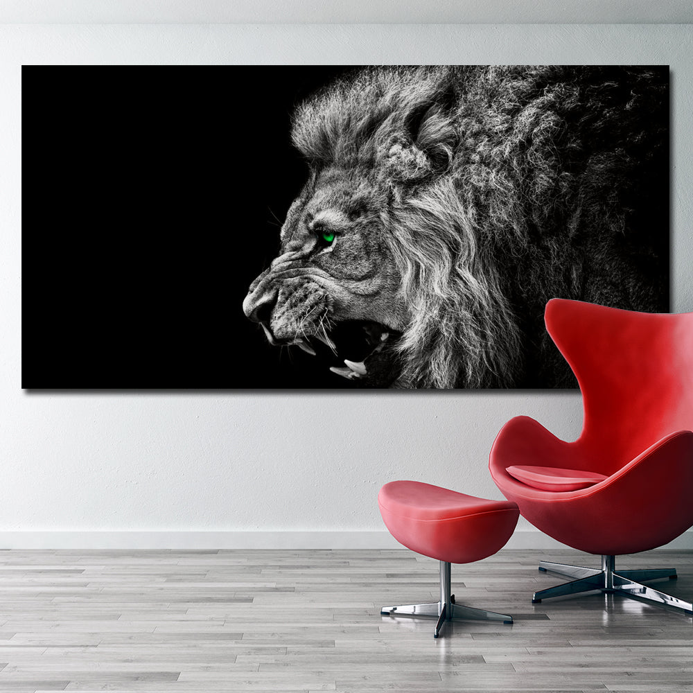 Pop Art Hd Print Black White Lion Animals Abstract Oil Painting On Canvas Modern Wall Art Picture For Kid Room