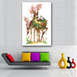 Wall Art Canvas Painting green tree Animal two Deer Pictures For Living Room Home Decor Posters Prints Oil Painting