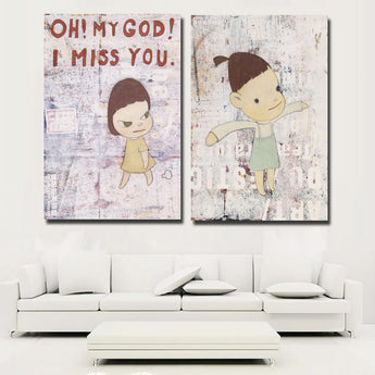 Yoshitomo Nara Canvas Art Cartoon Girl Japan Style Wall Poster Print Wall Pictures For Baby Kids Room Unframed